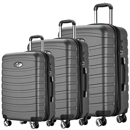 REISEKOFFER REISEKOFFERSET 3 Set Trolley Koffer Farbe Anthrazit TSA Schloß XL L M Kofferset REISEKOFFER …