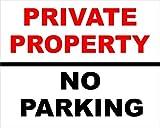 Etiqueta - Seguridad - Advertencia - Propiedad privada NO Parking Safety 250mm x 200mm oficina, empresa, escuela, hotel
