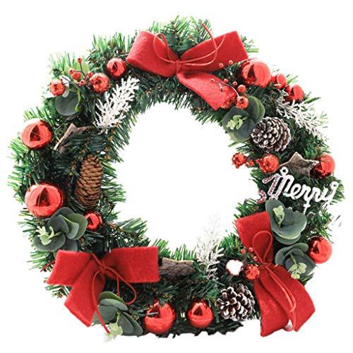 Decorazione Parete 40 Centimetri Natale Artificiale Corona Porta con Pigna Palla E Bowknot Regali for Natale Guirnalda Navidad (Color : E)