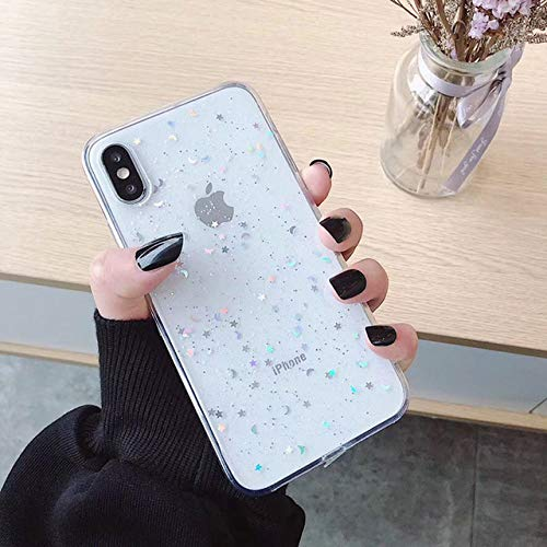 FYMIJJ Fashion Glitter Phone Case para iPhone 11 12 Mini Pro XS MAX XR X 6 6s 7 8 Plus Love Heart Star Sequins Soft Bling Clear Cover, corazón Blanco, para iPhone 7 Plus