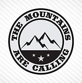 The Mountains Are Calling - Light Gray & Black, Vinyl Decal Bumper Sticker Outdoor Camping Hiking Rock Climbing Off Road S...