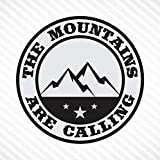 The Mountains Are Calling - Light Gray & Black, Vinyl Decal Bumper Sticker Outdoor Camping Hiking Rock Climbing Off Road Sticker