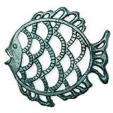 Sungmor -Salvamanteles de Pescado Fundido de Hierro Fundido de Alta Resistencia - 17,8 × 19 × 1,9 cm - Bastidores a Prueba de Herrumbre de Aspecto rústico y Retro Soportes para sartenes o teteras