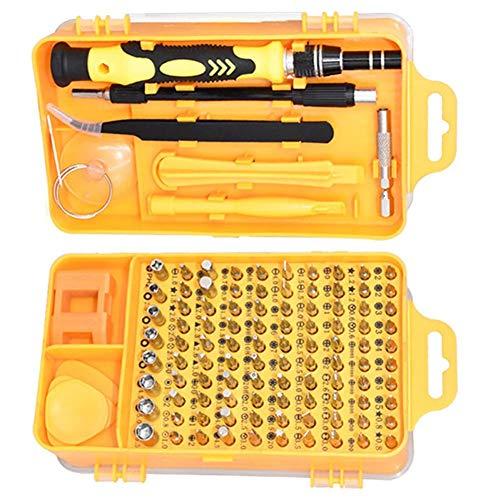 Oumefar Herramientas de reparación de Relojes Juego de Destornilladores 98 Piezas Brocas de Destornillador 115 en 1 para Reparar el teléfono del Reloj con Caja de(Yellow)