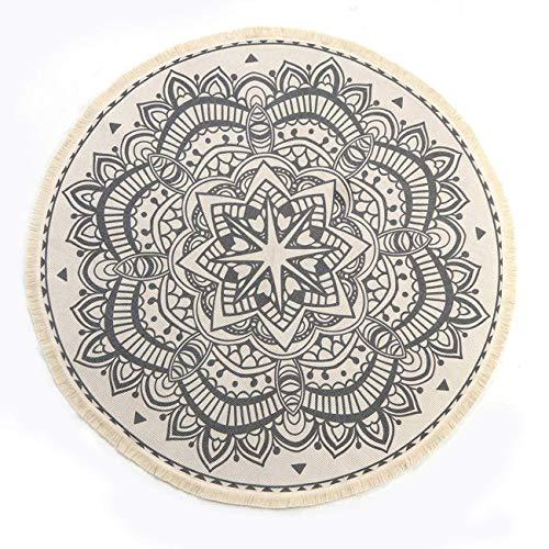 SHACOS Runde Teppiche Baumwolle mit Quasten,handgewebte schicke böhmische Mandala Bedruckte...