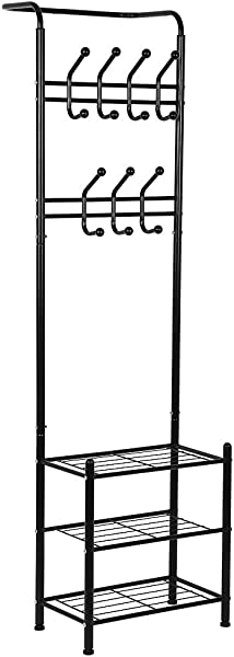 GOTOTOP 金属入口通道大衣鞋架 3 层鞋凳带大衣帽子伞架