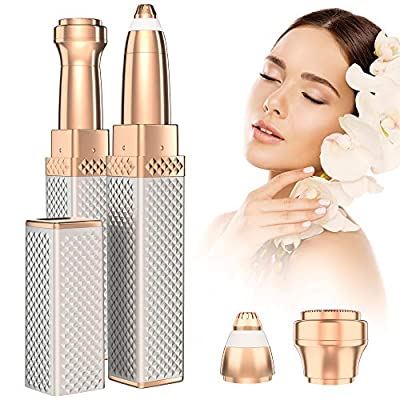 Flawless Facial Hair Remover & Eyebrow Trimmer for Women, 2 in 1 Electric Eyebrow Razor Shaper Painless Hair Removal Epilator Shaver for Body Lips Nose Ear Face Chin Fuzz Cheeks with LED Light