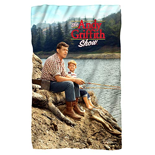 A&E Designs Andy Griffith Fishing Microfiber Fleece Blanket - 36' X 58' White
