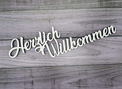 KE-Partyzubehör Schriftzug Herzlich Willkommen aus Holz in weiß