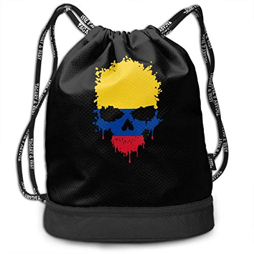 htrewtregregre - bag Colombia Skull Drawstring Backpack For Mens And Womens, 100% Polyester Athletic Handbags