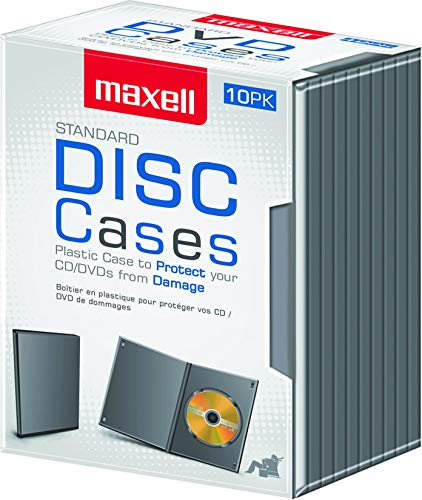 Maxell Safely Stores and Protects From Dust and Contaminants DVD-JC10 DVD Storage Case, 10 Pack