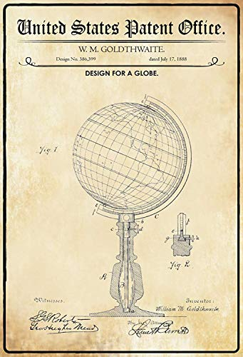NWFS Patent Entwurf für einen Globus Blechschild Metallschild Schild Metal Tin Sign gewölbt lackiert 20 x 30 cm