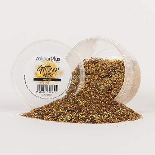 colourPlus Glitzer mittel (Holo-Gold) Glitter-Zusatz zum Veredeln von Wandfarben auf Wasserbasis oder zum Basteln, Made in Germany