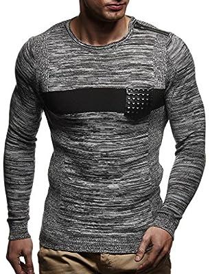 Leif Nelson Men's Pullover Hoodie Sweatshirt Longsleeve Sweater Crew Neck Slim Fit LN1660; XX-Large, Ecru-Black