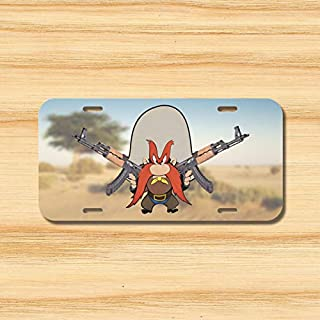 Yilooom Yosemite Sam License Plate Vehicle Auto Tag Rifle Second Amendment USA Ak-47 New Novelty Accessories License Plate Art