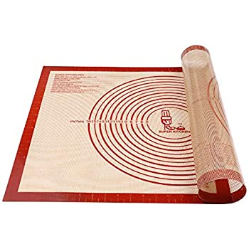 Non-slip Silicone Pastry Mat Extra Large with Measurements 28  By 20   for Silicone Baking Mat Counter Mat Dough Rolling Mat,Oven Liner,Fondant/Pie Crust Mat By Folksy Super Kitchen  2028 red