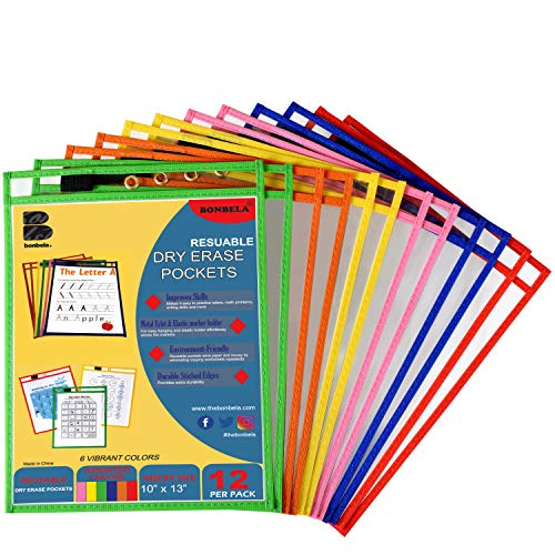 Bonbela Dry Erase Pockets 12 Pack - Dry Erase Sleeves - Reusable Sheet Protectors - School or Work - Oversized 10 x 13 Inches - Dry Erase Sheets - Job Ticket Holders