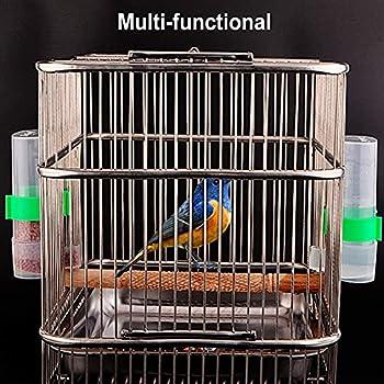 OYSJ 2PCS Mangeoire Oiseaux, Abreuvoir À Oiseaux Automatique Mangeoires,Oiseaux Distributeur d'eau Automatique Portable en Plastique pour Perroquet Petit Animal Utilisation d'alimentation