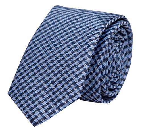 Fabio Farini Edle Krawatte, 6 cm in verschiedenen Farben, Blau-Schwarz kariert