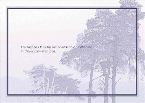 Herzlichen Dank für die erwiesene Anteilnahme in dieser schweren Zeit. - Trauer Dankeskarte Trauer Dank mit Landschaft • Premium Danksagung mit Umschlag nach Trauer, Tod, Beerdigung, Sterbefall, Begräbnis