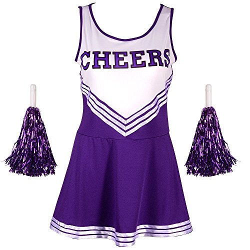 G-Kids Damen Mädchen Cheerleader Cheerleading Kostüm Uniform Karneval Fasching Party Halloween Kostüm Kleid Minirock mit 2 Pompoms Lila M