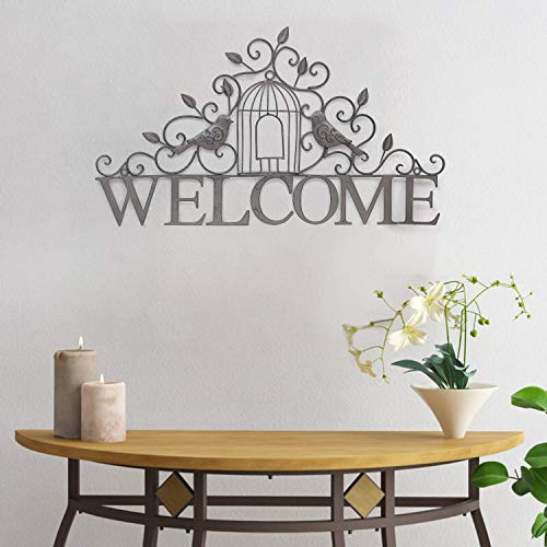 Joveco 21.7 inches Metal Wall Decor- Birds Welcome Signs for Front Porch- Farmhouse Metal Wall Decorations for Living Room- Hanging Welcome Sign Metal Wall Art Indoor Outdoor House Decorations (Large)