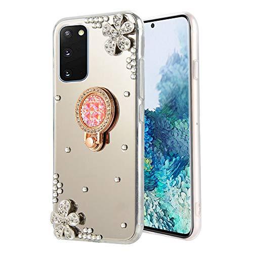 Cestor Überzug Spiegel Handyhülle für Samsung Galaxy S20 Plus,Luxuriös 3D Diamant Blumen Schutzhülle für Samsung Galaxy S20 Plus,Kristall StrassTPU Silikon Bumper Hülle mit Ring Ständer,Silber