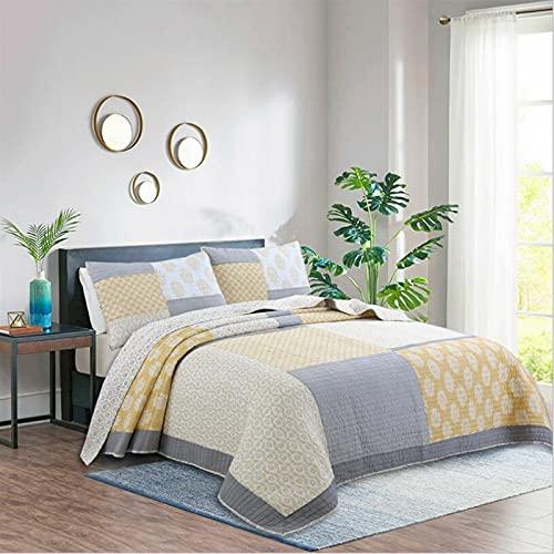 WDXN Tagesdecke Schlafzimmer Patchwork Aus 100prozent Baumwolle für Den Sommer Steppdecke,Hypoallergen Waschbare Bettüberwurf mit 2 Kissenbezügen,A,230 * 250cm