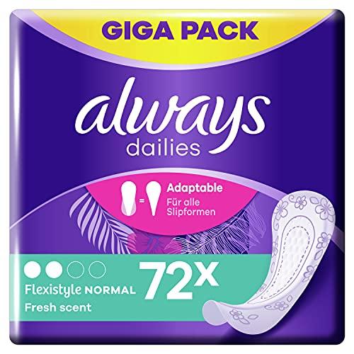 Always Dailies Slipeinlagen Damen Flexistyle Fresh Normal (72 Binden) Giga Pack, mit dezentem Duft, passend für alle Slipformen