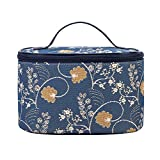Signare Tapestry Toiletry Bag Makeup Organizer bag for Women with Jane Austen Blue Design (TOIL-AUST)
