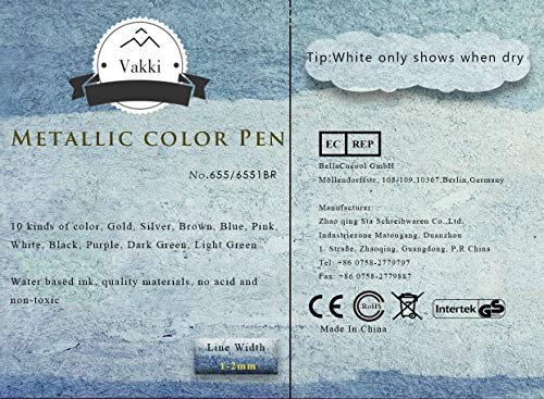 Rotuladores metálicos, rotuladores Vakki, juego de 10 colores surtidos para dibujo de álbum de fotos / regalo de cumpleaños por bricolaje Tarjeta para hacer bricolaje Pintura de roca Vidrio