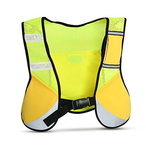 VGEBY Warnweste Reflektierende Sicherheitsweste leichte für den Nachtsport Radfahren Laufen mit Tasche(Yellow)