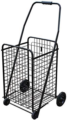Einkaufstrolley mit großem Fassungsvermögen von 90 l, mit 4 Rädern, zusammenklappbar, tragbar, Push-Pull (Farbe: Schwarz), Improve