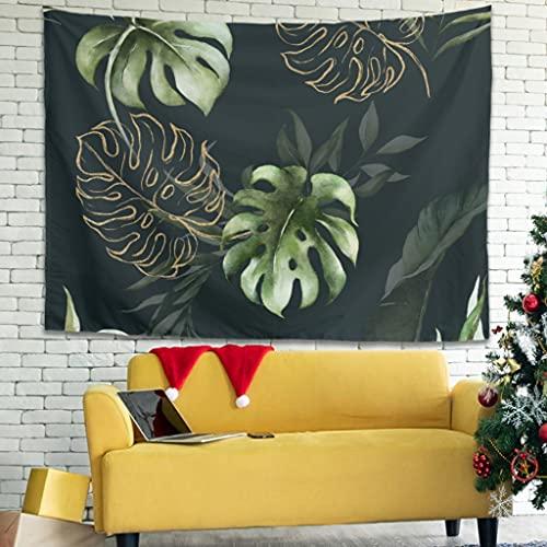 Tapiz de pared con hojas de palmera tropicales, hippy, decoración de pared para dormitorio, salón como manta de playa, colcha blanca, 230 x 150 cm