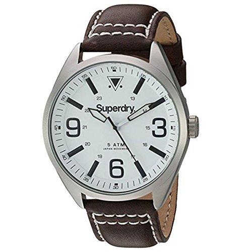 Superdry Herren Analog Quarz Uhr mit Leder Armband SYG199TS