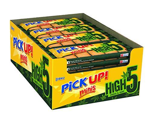 PiCK UP! Minis High 5 Choco & Hanf - Mini Keksriegel - Thekendispenser - Multipack mit 20 x 5 Stück - 2 Mini-Butterkekse mit knackiger Vollmilchschokolade und Hanfsamen (20 x 53 g)