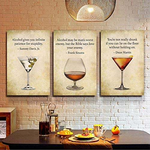 DNJKSA Bar Decor Drink Quote Bar Wall Art Canvas Painting Rat Pack Frank Sinatra Dean Martin Whiskey Art Print Posters/40x60cmx3Pcs-No Frame
