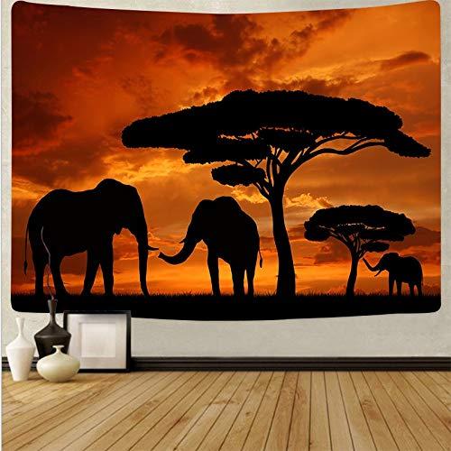KHKJ Patrón Mandala Tapiz para Colgar en la Pared Estera Pastizales africanos al Atardecer Patrón de Elefante Yoga Pad Alfombra para Dormir A4 95x73cm