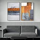 MKAN Cuadro De Lienzo Abstracto De Mark Rothko, Carteles E Impresiones, Cuadros De Arte De Pared Modernos con Bloques De Colores, para Decoración del Hogar, 50X75Cmx2