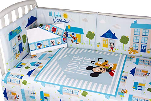 Disney Mickey Mouse Quilt with Bumper and Matching Sheet (Sky Blue)