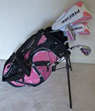Left Handed Girls Junior Golf Club Set with Stand Bag for Kids Ages 3-6 Pink Color LH Premium Professional Quality