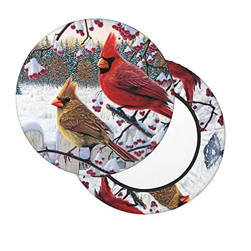 Funda de Asiento para Silla Pájaros Rojos de Invierno Material Ploiéster Duradero Fundas Decorativas para sillas de Comedor 12-14in