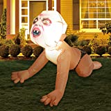 GOOSH 4FT Halloween Inflatable Outdoor Zombie Baby Blow Up Yard Decoration Clearance with LED Lights Built-in for Holiday/Party/Yard/Garden
