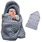 Colorful Newborn Baby Wrap Swaddle Blanket, Oenbopo Baby Kids Toddler Knit Blanket Swaddle Sleeping Bag Sack Sleep Bag Stroller Wrap for 0-12 Month Baby (Grey)