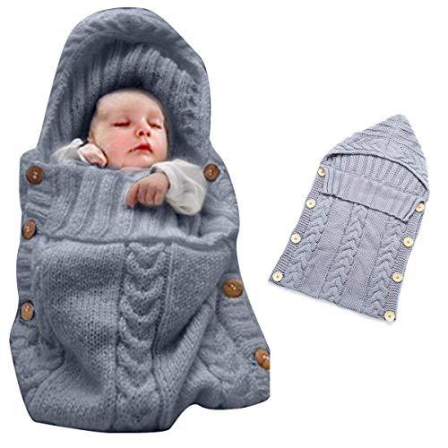 Oenbopo - Manta de punto para bebé recién nacido, saco de dormir para bebés de 0 a 12 meses (gris)