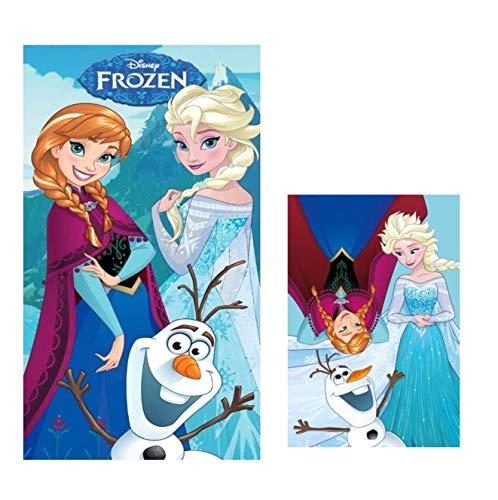 Theonoi - Set di asciugamani per bambini, 1 telo da spiaggia, 70 x 140 cm + 1 asciugamano per il viso o gli ospiti Frozen, in cotone – regalo per ragazze (set da 2 Frozen)