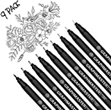 Black Micro-Pen Fineliner Ink Pens, Precision Multiliner Pens for Artist Illustration, Sketching, Technical Drawing, Manga, Scrapbooking, 9 Size Waterproof Archival Ink Micro Fine Point Drawing Pens