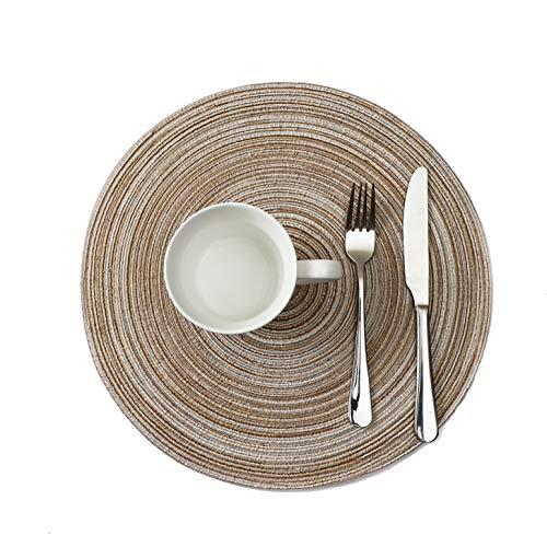 ランチョンマット4枚セット 手編み プレースマット円形 テーブルマット 撥水 防汚 丸洗い お手入れ 簡単 滑り止め 摩擦 耐える 断熱 飾り 食卓 華やか 雰囲気 大人 子供 対応 家庭 レストラン 用 ベージュ