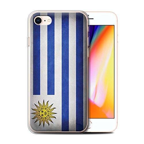 Telefoonhoesje voor Apple iPhone SE 2020 Vlaggen Uruguay/Uruguayan Ontwerp Transparant Helder Ultra Zachte Flexi Siliconen Gel/TPU Bumper Cover