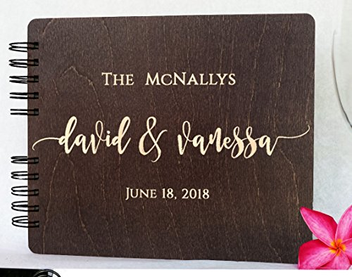 Wood Wedding Guest Book Personalized Wooden Rustic Charm Custom Engraved Bride and Groom Names Date Vintage Monogrammed Unique Bridal Gift Idea Guest Registry Guestbook Made in USA